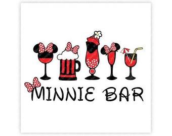 Disney, Minnie Bar, Drinks, Bow, Epcot, Food, Wine, Festival, Digital, Download, TShirt, Cut File, SVG, Iron on, Transfer