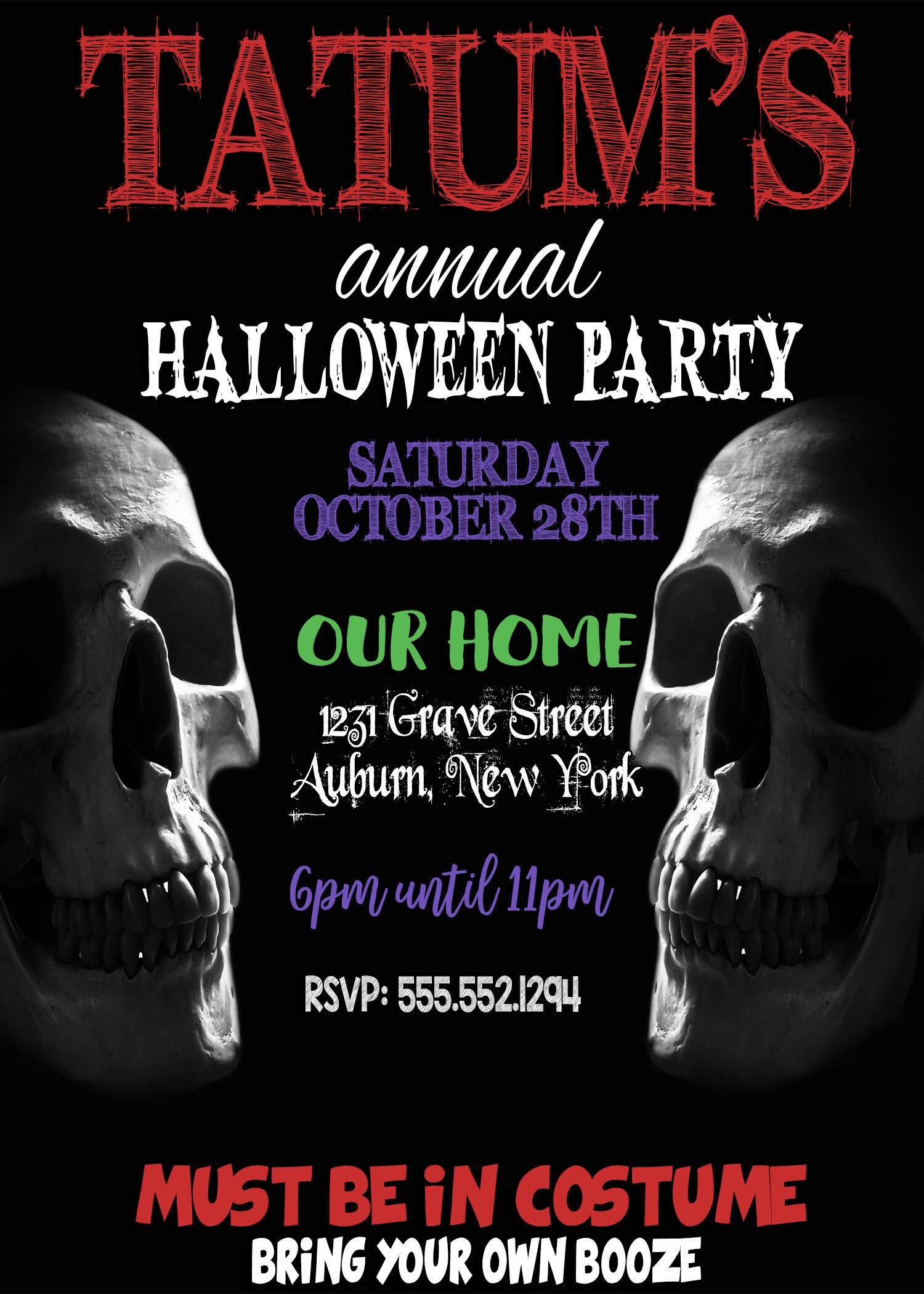 Scary halloween invitations, scary party invites, skull ...