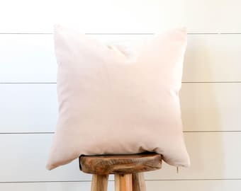Blush Pink Pillow, Blush Pillow, Pink Velvet Pillow Cover