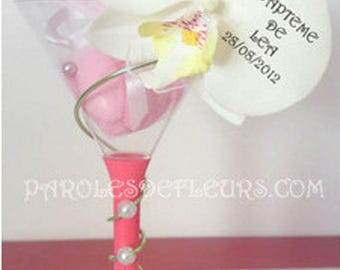 Cocktail glass Orchid personalize wedding/baptism