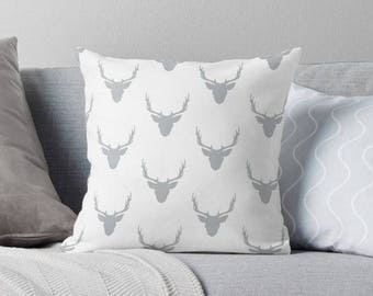 Gray and White Deer Head Pillow - Deer Nursery Decor - Deer Throw Pillow - Boys Room Decor - Woodland Nursery - Baby Shower Gift