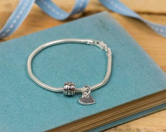 Fine Silver Heart and Bead Bracelet - Simple Heart Bracelet - Silver Heart Charm - Heart Charm Bracelet - Silver Charm Bracelet