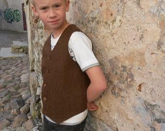 Boys Brown Wool  Tweed Vest  Woodland Wedding Boys Waistcoat Ring Bearer Outfit