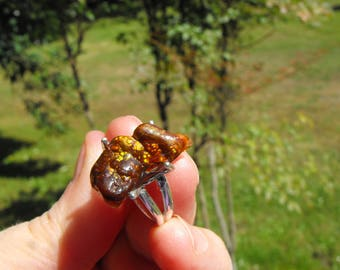 Fire Agate Ring, Sterling Silver Prong Set, Full Of Fire !