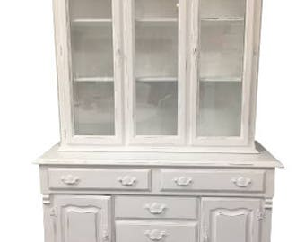 Distressed White Farmhouse Chic Hutch Storage Cabinet/Living Room Storage/Linen Storage/China Cabinet