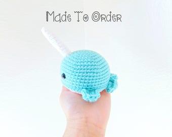 Made to Order Crochet Narwhal, Amigurumi Narwhal, Kawaii Narwhal, Handmade Narwhal Toy, Crochet Sea Unicorn, Customize