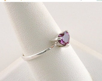 33% Off Christmas in July Size 9 Sterling Silver And .50ct Purple Heart Rhinestone Ring