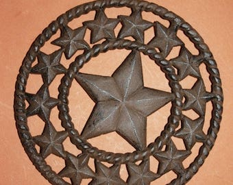 "13% OFF 4)pcs, Cast iron Lone star Trivet, Lone Star kitchen decor, Country Western trivet, Texas kitchen, 8"", cast iron,free shipping,W-40"