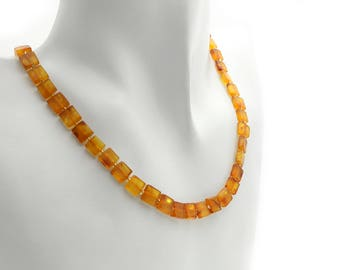Beaded Amber Necklace - Cognac Amber Necklace - Baltic Amber Necklace - Baltic Amber Jewerly - Statement Necklace - Amber Necklace -DO-115