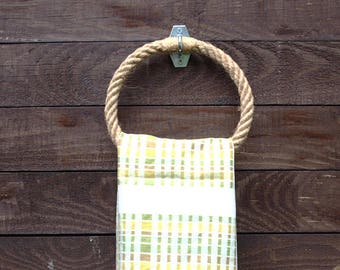 2 Towel Holder-handmade-set of 2 - natural hemp rope- for bathroom or kitchen-garage-patio-backyard