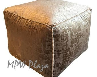 NEW COLLECTION-Velvet  Moroccan Pouf/Ottoman (Champagne with embroidery)
