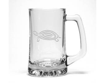 Sea Turtle Beer Mug / #2 / Free Personalization / Marine Life Beer Glass /Personalized Beer Mug / Personalized Gift