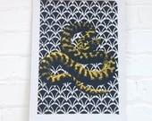 Yellow Snake Print - Serpent Pattern Art Print - Bold Nature Screenprint  -  Animal Wall Art Print - Modern Collage Screenprint