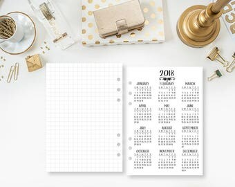 A5 2018 Year at Glance printed planner insert - year in review - yearly planner insert