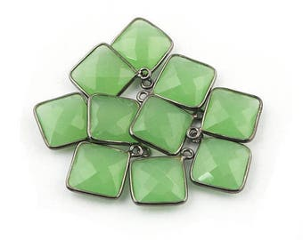 MEGA SALE 10 PCS Green Chalcedony Oxidized Silver Faceted Cushion Single Bail Pendant - Green Chalcedony Pendant 19mmx16mm Ss1504