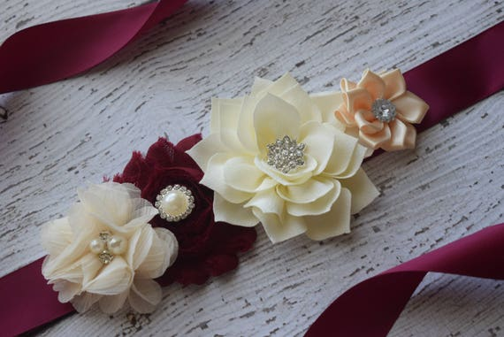 Flower Sash,  burgundy ivory cream Sash , flower Belt, maternity sash, wedding sash, maternity sash girl, flower girl sash