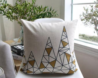 Decorative Pillow, Cushion Cover Simple Triangle Geometric Pattern Home  Throw Pillow Shell Customized Size