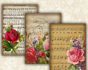 SALE 60% Vintage Music sheet Flower Cards Digital Collage Sheet Printable 2.5x3.5 inch size Images Gift Tags Jewelry Holders Scrapbook ATC A