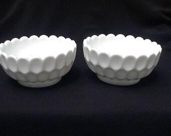 Fenton Olde Virginia Thumbprint Milk Glass Candle Pair Holders 4474