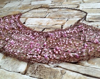 Women's Bib Necklace/ Bib Necklaces/ Crochet Wire Necklace/Pink and brown necklace/ Neck Jewelry BOHO/ Bohemian Necklace/ Boho BIb Necklace