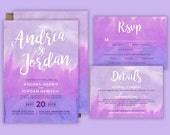 Purple Watercolor Wedding Invitation Set, Printable Wedding Suite