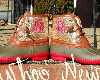 Youth Duck Boot Glitter duck boot Glitter boot Monogram Duck Boot Glitter Ankle Boot Youth Glitter boot Youth lace boot Toddler Glitter boot