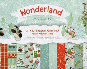 CHRISTMAS WONDERLAND 12 x 12 ins Designer Paper Pack for Card Making, Scrapbooking, Brand New by Dovecraft, Helz Cuppleditch