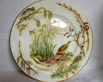 """Caverswall 'Country Diary of an Edwardian Lady' Plate 'February 10 3/4"""" 27.5cms"""
