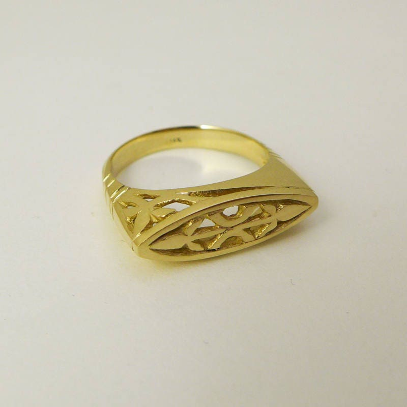 gold signet ring engraved gold ring 14 karat solid gold signet ring unique