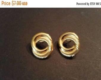 SALE Vintage Gold Earrings Linked  Loops Costume Jewelry