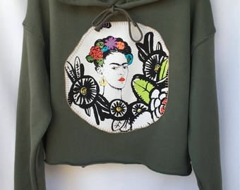 Frida Hand Painted Stitched Cropped Hoodie Sweater. Olive Green Frida Sweater. Olive Frida Hoodie. Gift Friendly.