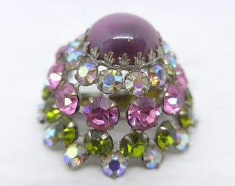 Vintage Pink Green Glass Rhinestone Domed Brooch Pin