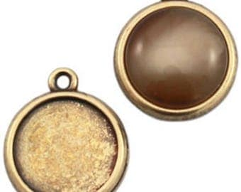 DQ Metal pendant, version F. cabochons Ø 20 mm-1 piece-Silver plated/gilded (colour: bronze)