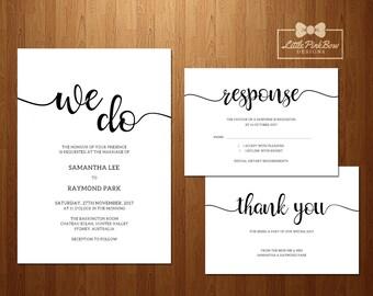 Modern Wedding Invitation, RSVP, Thank You Printable Set, Printable Wedding Invitation Set; Classic Wedding Invitation Printable Set; We Do