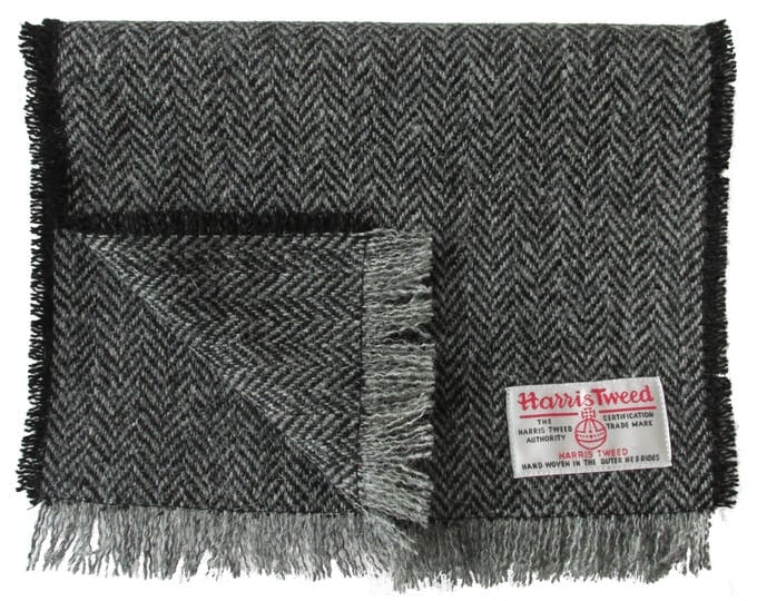 Harris Tweed Black & Grey Herringbone Luxury Pure Wool Neck Scarf
