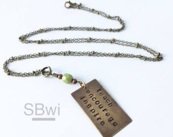 Teacher gift necklace in bronze green glass or lapis accent