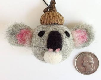 Koala Ornament, Needle Felted Wool with Acorn Cap, Koala Bear