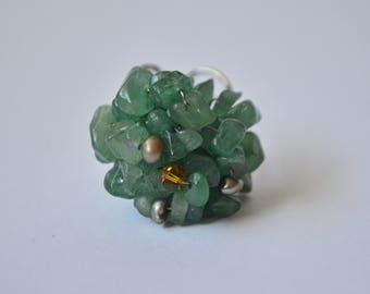 Vintage Natural Green Jade Genuine Pearl Amber Color Faceted Crystal Cluster Chunky Adjustable Sterling Silver Ring