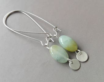 Small price! Amazonite and silver Metal earrings