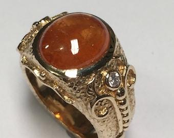 4.21 ct Spessartite Garnet Ring set in 14k yellow gold