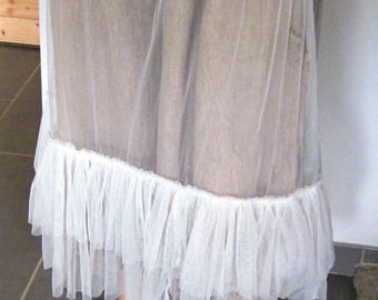 Long white tulle petticoat