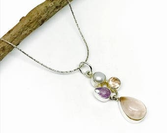 Rose quartz, amethyst, pearl pendant, necklaces set in sterling silver 925. Natural authentic stones. Length-1.37 inch.