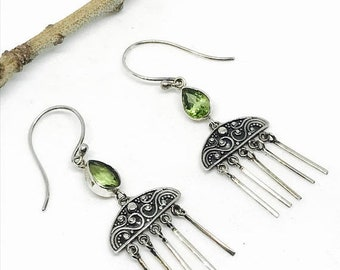 10% Peridot Earrings in sterling silver 925: Genuine natural peridot stones. Perfectly matched .