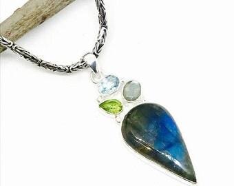 10% Labradorite, peridot blue topaz multistone pendant, necklaces set in sterling silver 925. Natural gemstones . Length- 2.25 inch.