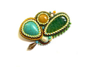 Turquoise beadwork brooch stone Beaded embroidery green yellow brooch Original brooch handmade Gift for women brooch Bead embroidered brooch