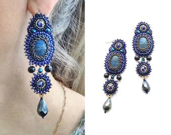 Beaded embroidery earrings Blue black dangle earrings Lapis lazuli Cabochon earrings Beadwork earrings Bead embroidered earrings for women