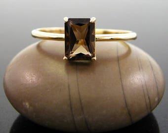 quartz ring, rings for women Smoky quartz ring 14K gold ring, solid goldring stone ring for girlfriend size 3 4 5 6 7 8 9 10 11 12 13