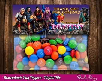 Descendants 2 Favor Bag Toppers Personalized BIRTHDAY party Printable - Digital File