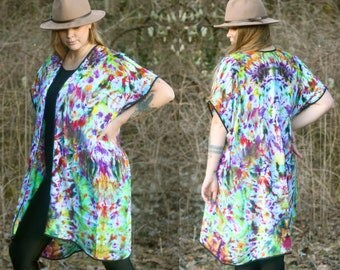 Psychedelica Kimono Flowy Hand Dyed One of a Kind Open Front Kimono