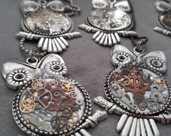 Mixed metal watch gear, Steampunk Owl Pendant
